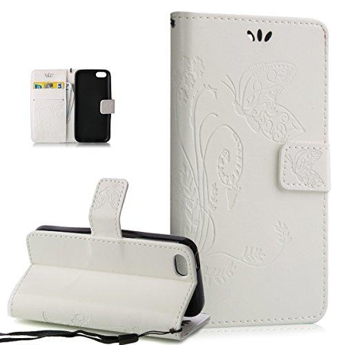 ikasus Compatible avec Coque iPhone 5C Etui,Motif Gaufrage Art Fleur Papillon Housse en Cuir PU Etui Housse en Cuir Portefeuille Protection supporter Flip Case Etui Housse Coque pour iPhone 5C,Blanc