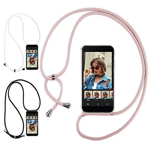 Ingen 3Pcs Funda con Cuerda para Xiaomi Mi A1 - Carcasa Transparente TPU Suave Silicona Case con Colgante - Negro + Rosa + Blanco