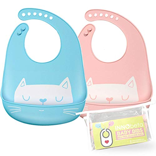 InnoBeta 2Pack Baby Lätzchen Silikon Wasserdichte Silikon-lätzchen Babylätzchen mit Auffangschale für Entwöhnen BPA Frei Abwaschbar Verstellbare Einfache Reinigung Weihnachten Babyparty Geschenk