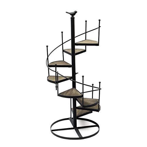 Moderno decorativo hierro planta estante plantas suculentas estante 8 capas escalera forma escritorio jardín flor soporte madera placa