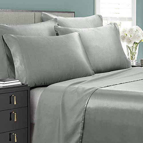 Cobedzy 6 Pcs Light Grey Satin Sheets Queen Size Soft Silk Satin Bedding Sheets Set with 1 Deep Pocket Fitted Sheet, 1 Flat Sheet, 4 Pillowcases