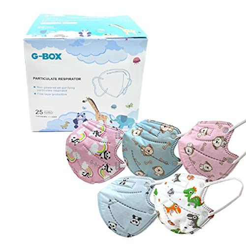 G-Box Children's 5-Layer Disposable Particulate Respirators (25-pcs, Individually Wrapped & Sealed) (Party Pack)