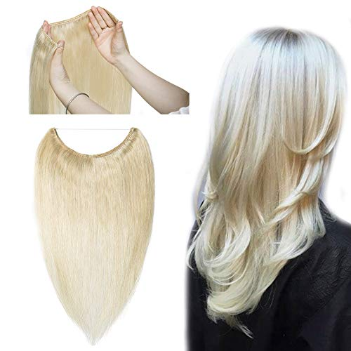 Hidden Invisible Crown Human Hair Extension One Piece Secret Miracle Wire in Hairpieces No Clip No Tape in Remy Hair Translucent Fish Line Headband 70g 20''/20inch #60 Platinum Blonde