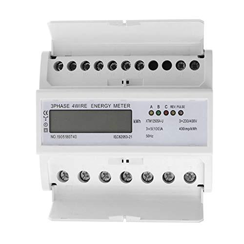 LCD Digitaler Drehstromzähler Stromzähler 3-Phasen-4-Draht 5-100A Geeicht Für DIN Hutschiene Für Gebäudetechnik Energy-Management-Systeme Industrie