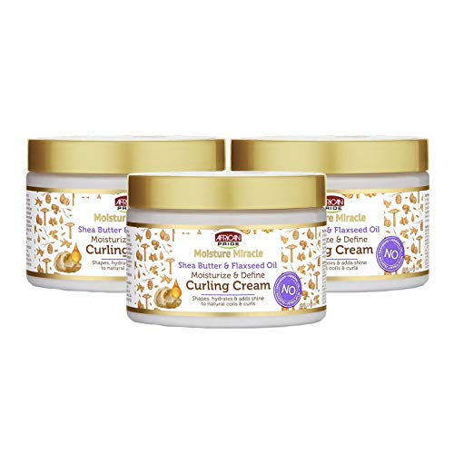African Pride Moisture Miracle Shea Butter & Flaxseed Oil Hair Curling Cream (3 Pack) - Shapes, Hydrates & Adds Shine to Natural Coils & Curls, Moisturizes & Defines, 12 oz