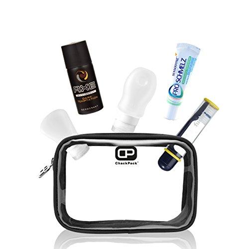 ChackPack Air - Basis Reiseset für Herren   Transparenter Kulturbeutel mit 1L Volumen für Handgepäck mit 2 befüllbaren Silikon-Flaschen, Zahnbürste, Zahnpasta und Deo   Flugzeug Kosmetikbeutel