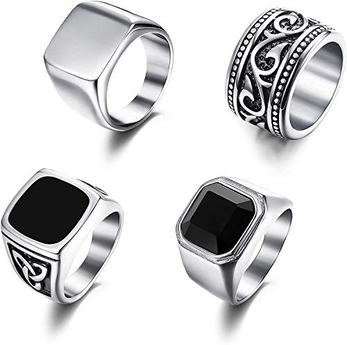 Finrezio 4Pcs Stainless Steel Rings for Men Vintage Biker Signet Ring Band Solid Polished Rings Set Size R-1/2(Size 9)