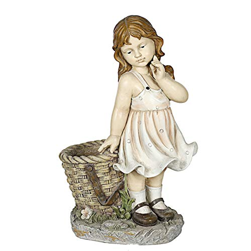 Garden statue Flower Pot Path Lawn Garden Decoration Ornaments Outdoor Country House Cartoon Character Decoration statue (Color : Girl, Size : 53x33x22cm)