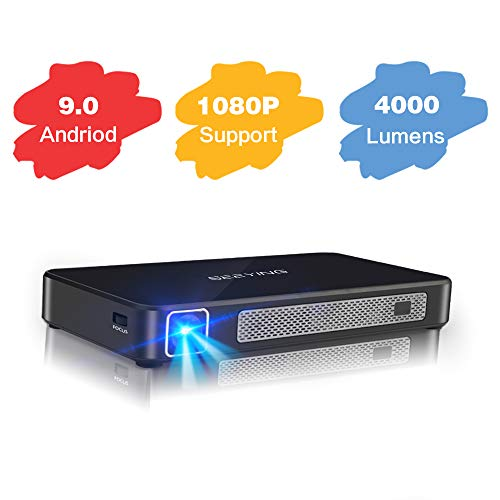 Mini Projector 4000 Lumens Android 9.0 System Portable Projector Support 1080P DLP Smart Video Projector Wireless Screen Share iPhone Laptop HDMI USB 8000mAh Battery 4+16G for Outdoor Gaming Movie