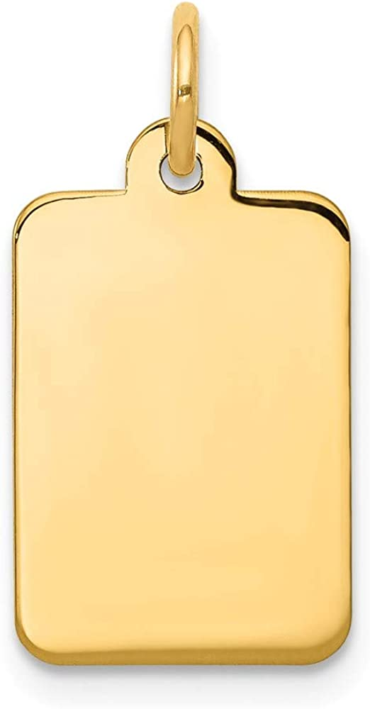 14k Yellow Gold .011 Gauge Rectangular Engravable Disc Pendant Charm Necklace Fine Jewelry For Women Gifts For Her