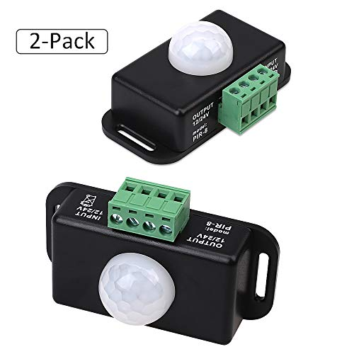 Samxu Strip Light Motion Sensor Switch, DC12V~24V Infrared Motion Sensor Detector Switch for Cupboard Cabinet Kitchen Stairs (2 Pack)