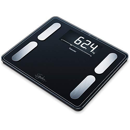 Beurer BF 410 black diagnoseweegschaal Signature Line, nauwkeurige analyse van het lichaam voor maximaal 10 personen, met extra groot geinverteerd lcd-display, draagvermogen van maximaal 200 kg