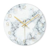 CSQ ウォールクロック家族装飾壁時計ハンギングファッションウォールクロック、超薄型ガラスウォールクロックユニークなマーブルウォールクロックアートウォール ウォールクロックと掛け時計 (Color : A, Size : 12 inches)