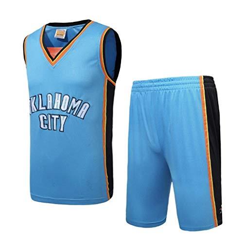 WXR Camiseta de Hombre Jersey para Hombre - Conjunto de Pantalones Cortos Baloncesto Swingman Jersey Chalecos Tops Sin Mangas Camisetas Azul Traje Corto (Size : S)