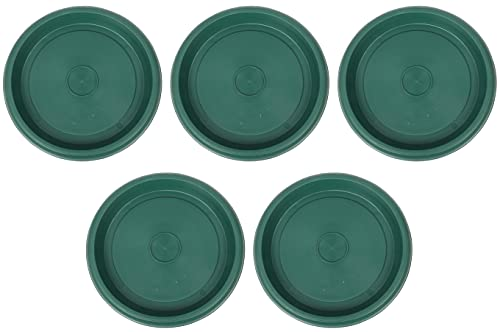 Jolie Max Plant Pot Round Saucer. Flower Pot Deep Drip Tray Strong Plastic.(Pack of 5) (Green). (No:2 (Top Dia. 12 cm))