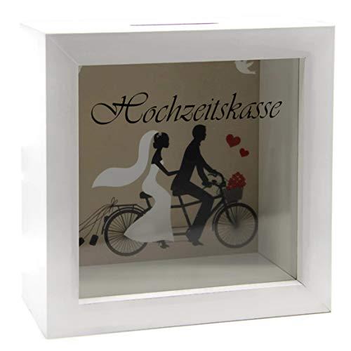 Bada Bing Spardose Hochzeitskasse Bilderrahmen Holz Weiß Reisekasse Hochzeit Geschenk Geldgeschenk Bild 12 x 12 cm Individualisierbar Hochwertig 12