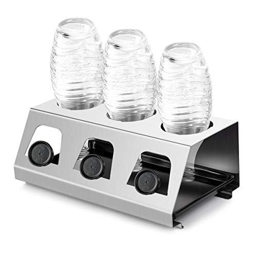 SodaStream Flaschenhalter Abtropfhalter aus Edelstahl Abtropfständer für SodaStream und Emil Flaschen Platz Spülmaschinenfest mit Abtropfboden und Deckelhalterung