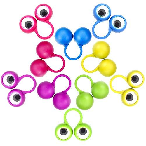 Rmeet Ojos para Dedos,30 Pack Marionetas de Dedos 5 Colores Ojo Dedo Títeres para Niños Bolsas de Regalos Favores de Fiesta Halloween