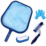 Hot Tub Cleaning Kit Accessories Contain Pool Net, Paddling Pool Brush and Scrubber Pad, with a Pair of Cleaning Gifts, All in 1