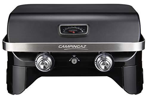 Campingaz Attitude 2100 LX Plus, tragbarer Tischgrill, 2 Stahlbrenner, 5 kW Leistung, Camping Gasgrill mit Deckel und Warmhalterost, Thermometer und Gusseisen-Grillrost