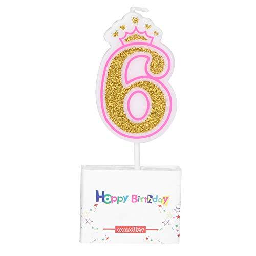 VIFERR Velas de Pastel, Bebés Niños Cumpleaños Vela Fiesta Corona Sin Humo Velas de Pastel Números para Niños de 0 a 8 Años (Design : 6)