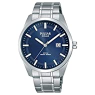 Blue Dial with Date Display Silver-coloured stainless steel bracelet Solar powered Manufacturer's 2 year guarantee
