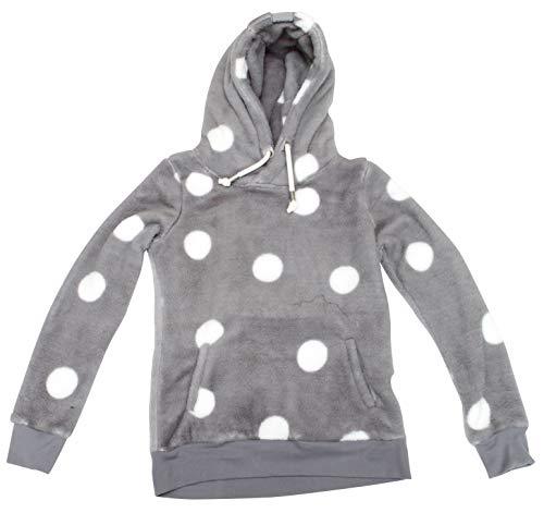 Eight2Nine Damen Teddy Fleecejacke mit Kapuze Hoodie Pullover Fleece Jacke (XL, Dawn Grey P)