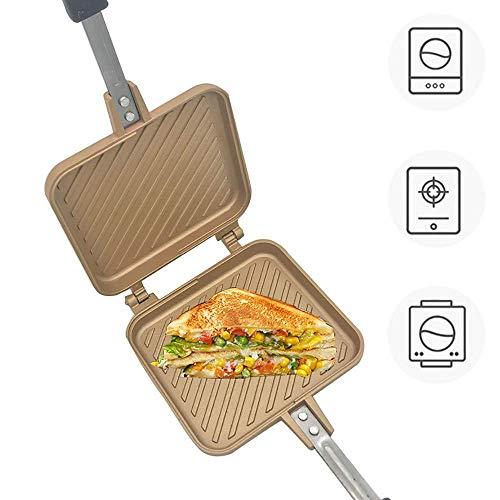 AFDK Sartén Sandwich Fácil de Limpiar, Hierro Fundido Waffle Iron, Tostadora Sandwich Revestimiento Antiadherente de Doble Cara, Estufa de Waffle Iron Hierro Fundido, Adecuado para Estufa Eléctrica d