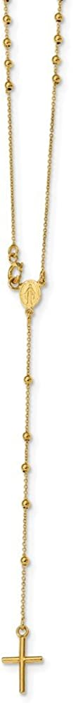 14k Yellow Gold Rosary Necklace 16.5inch for Women