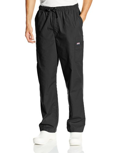 CHEROKEE Workwear Scrubs Men's Cargo Pant, Black, Large