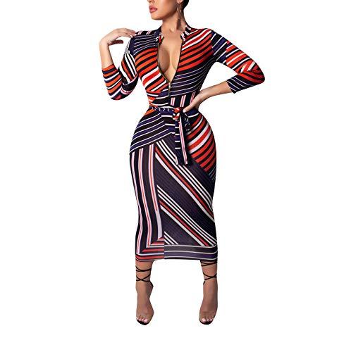 ECHOINE Women Sexy Floral Print Deep V Neck Long Sleeve Zip Bodycon Midi Dress Club Outfits with Belt (Orange, XL)