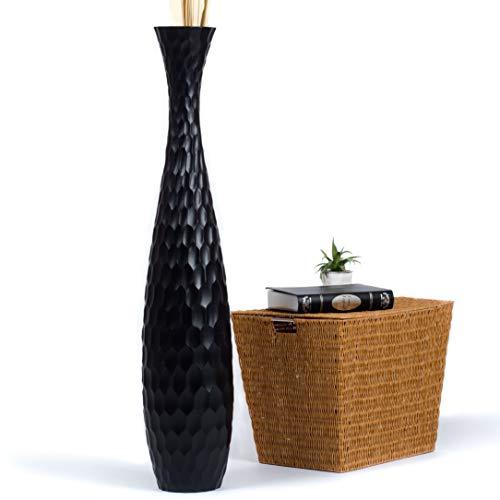 Leewadee Jarrón de Suelo Grande Alto, jarrón Hecho a Mano de Madera de Mango, contenedor de pie para Las Ramas Decorativas, 112 cm, Negro