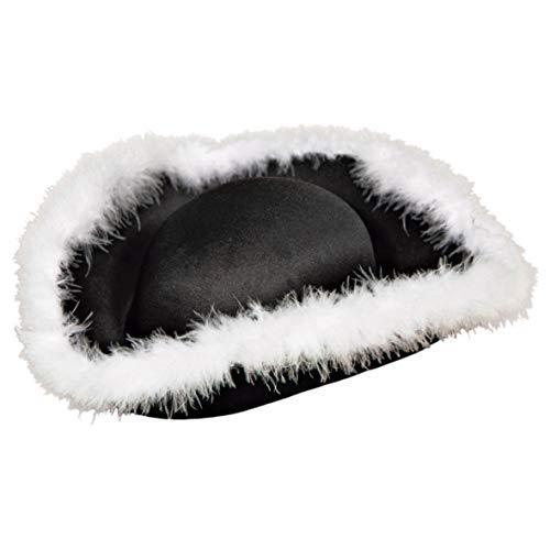 Folat Pirate Chapeau de Feutre Noir avec Poils Blancs