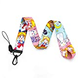 Sailor Moon Pink Lanyard for Keys ID Badge Holder Sailor Moon Keychain Anime Sailor Moon Necklace Jewelry for Girls (LY-Sailor Moon)