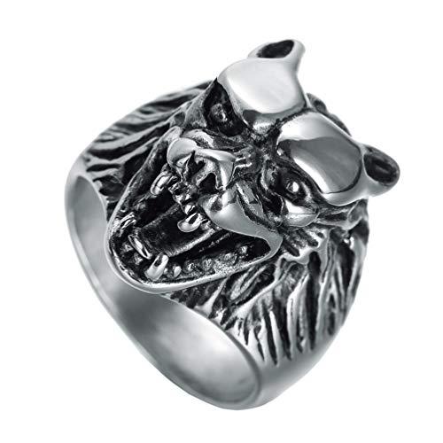 HIJONES Herren Jahrgang Gotisch Biker Punk Brüllend Wolf Werwolf Kopf Ring aus Edelstahl Silber Ton Größe 70