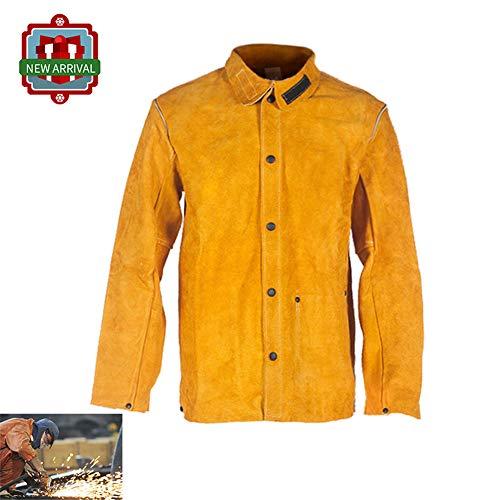 KLFSJD Leder Arbeitsjacke Jacket, Flammhemmende Schutz Bekleidung, Werkstatt Schweißerkleidungsset Für Unisex-Arbeitskleidung,XL