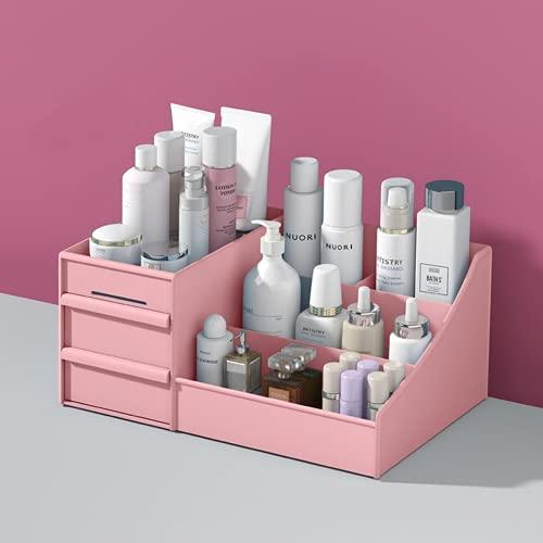 AHTOSKA Tipo de cajón Caja de Almacenamiento de cosméticos Dormitorio Escritorio Estante Multicapa tocador máscara lápiz Labial Compartimento Acabado gabinete (Rosa)