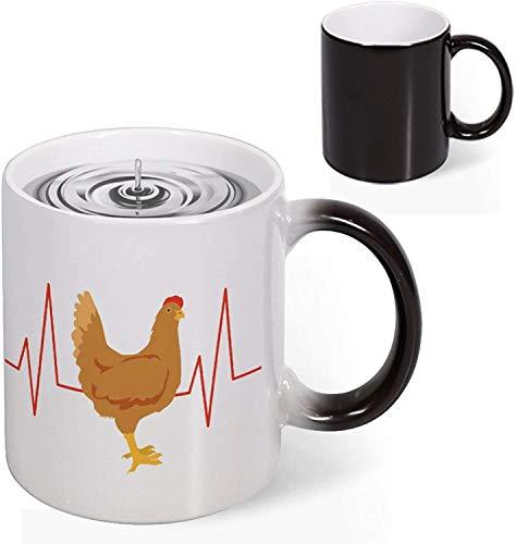 Heat Reveal Taza de café de cerámica de 11 oz,latido del corazón de pollo,electrocardiograma,que cambia de color,novedad,taza creativa,decoloración,taza divertida,arte,navidad