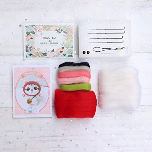 YOURPAI Material de fieltro de lana, muñeca de gato con fieltro de lana de fresa, kit de...