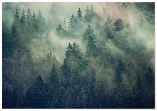 Panorama Poster Misty Forest Poster 70 x 50 cm - Gedruckt auf qualitativ hochwertigem Poster - Nature Wanbilder - Poster Wohnzimmer - Poster Zen - Bilder Schlafzimmer - Dekoration Zuhause