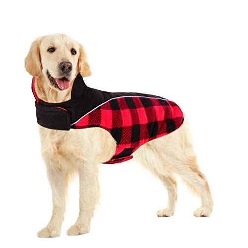 SUNFURA Reflective Dog Cold Weather Coat, British Style Plaid Reversible Waterproof Windproof Pet...