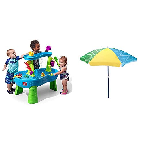 Step2 Rain Showers Splash Pond Water Table | Kids Water Play Table with 13-Pc Accessory Set & 42 Inch Seaside Umbrella for Sand and Water Table - Kids Durable Beach Camping Garden Outdoor Play Shade