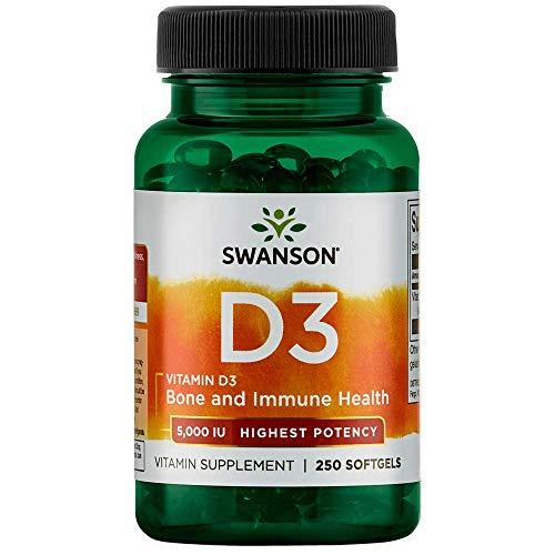 swanson premium bone supplements Swanson Vitamin D-3 5000 IU Bone Health Immune Support Healthy Muscle Function D3 Supplement (cholecalciferol) 125 mcg 250 Softgels Count