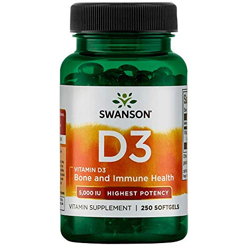 Swanson Vitamin D-3 5000 IU Bone Health Immune Support Healthy Muscle Function D3 Supplement (cholecalciferol) 125 mcg 250 Softgels Count