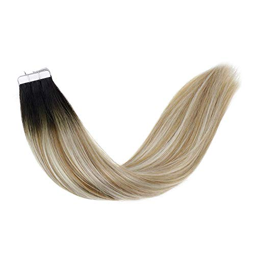 LaaVoo 14 Pulgadas Tape on Extensiones de Cabello Balayage Natural Black Fading to Lightest Brown and Lightest Blonde Tape in Hair Glue 20 Pcs Total 50g