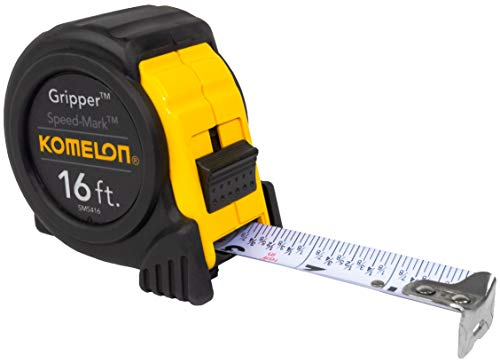 Komelon SM5416 Speed Mark Gripper Acrylic Coated Steel Blade Tape Measure 16-feet by 1-Inch, White Blade
