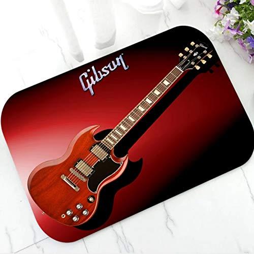 N/A Tapis D 'Impression 3D Vintage Gibson Bienvenue Tapis De Porte Guitare Musique Paillasson pour Entrée Intérieure Antidérapant Tapis Tapis Salle De Bain Décor Cadeaux