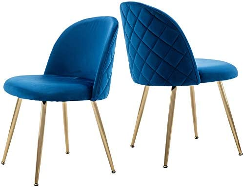 Best Tufted Dining Chairs, Velvet Upholstered Accent Chairs with Gold Plating Metal Legs Blue&Brass for L