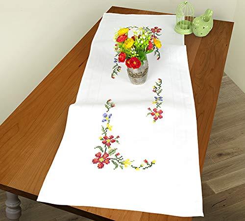 Kamaca Stickpackung Tischdecke Blumen Kreuzstich vorgezeichnet aus Baumwolle Stickset mit Stickvorlage (Tischläufer 40x100 cm)