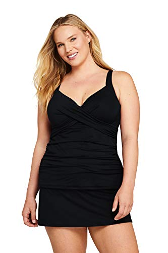 Lands' End Women's Plus Size V-Neck Wrap Underwire Tankini Top Swimsuit with Adjustable Straps 16W Black